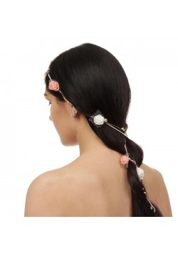 """Декор для волос вплетаемый """"Розочки"""" с бусами, 150см"""