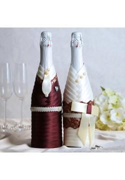 Костюмы на шампанское Жених и Невеста (айвори-шоколад)
