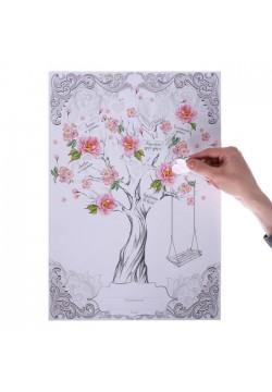 """Дерево пожеланий с наклейками """"Качели"""" 33*47,5см"""