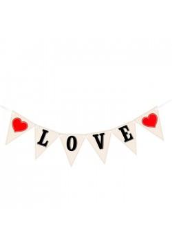 """Гирлянда для фото на ленте """"LOVE"""" флажки 105см (картон)"""