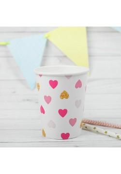 """Стаканы """"Сердца"""" розово-золотые 250мл, 10 шт (бумага)"""