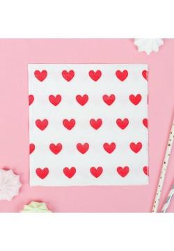 """Салфетки """"Сердца красные"""" белые 33*33 см, 20 шт"""