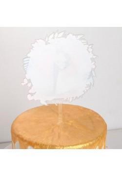 """Топпер для торта """"Жених и невеста в цветах"""" (пластик) 15см"""