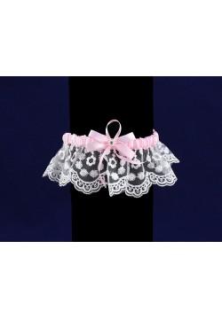 Подвязка Кружевная (бело-розовая)