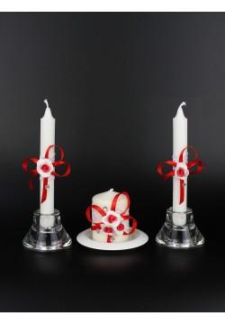 """Набор свечей """"Очаг №1"""" (очаг 7,5*5,5см, тонкие 2шт) бел-крас"""