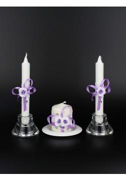 """Набор свечей """"Очаг №1"""" (очаг 7,5*5,5см, тонкие 2шт) бел-сир"""