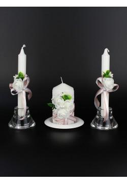"""Набор свечей """"Абель"""" (очаг 12*6см, тонкие 2шт) пудра"""