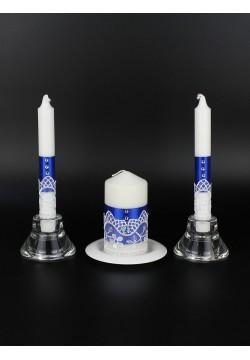 """Набор свечей """"Аэлита"""" (очаг 12*6см, тонкие 2шт) синий"""