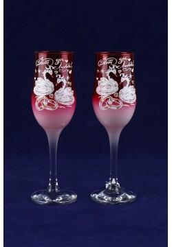 Фужеры для шампанского Tulip Свадебные (красные прозрачные)