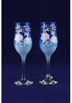 Фужеры для шампанского Tulip Свадебные (синие прозрачные)