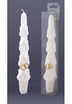 Античная резная Свеча с кольцами (белая) 24,5*4,5см