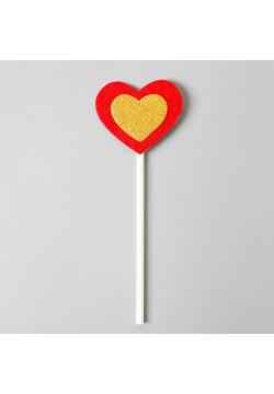 """Топпер в торт """"Сердце"""" красно-золотые, 6 штук, 17*10см"""