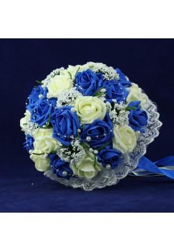 Букет-дублёр Розы латекс 2, (айвори-синий)