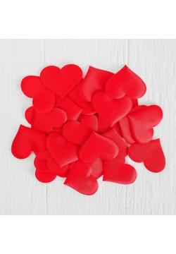 Сердечки 5 см, текстиль, красный (25 шт)