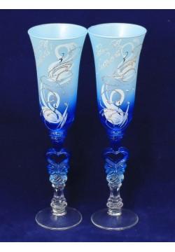 Фужеры для шампанского Свадебные (цветные матовые)