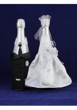 Костюмы на шампанское ЖиН атлас (чёрно-белые)