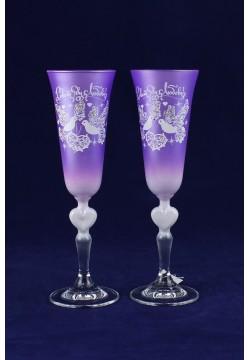 Фужеры для шампанского Свадебные (сирень)