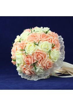 Букет-дублёр Розы латекс 2, (айвори-персиковый)