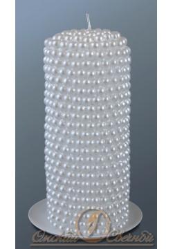 """Свеча-очаг цилиндр """"Жемчужный"""" 70*170мм (белый)"""