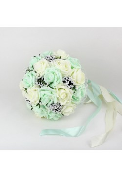 Букет-дублёр Розы латекс 3, (айвори-мятный)