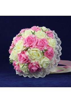 Букет-дублёр Розы латекс 2, (айвори-розовый)