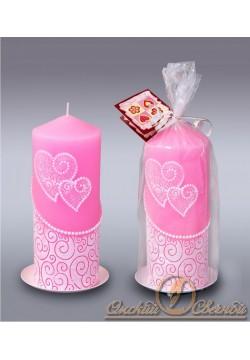"Свеча-очаг цилиндр ""Два сердца"" 70*170мм (розовый)"
