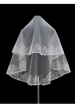 Фата средняя с вышивкой круговая (белая)