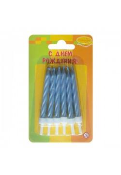 Свечи для торта Перламутр голубые 6см (12шт)