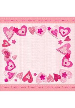 "Салфетки ""Сердечки I love you"", 33*33см, 20шт/уп"