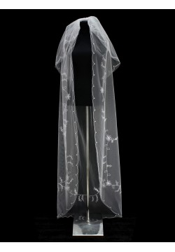 Фата длинная с вышивкой 2 яруса (белая)