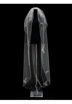 Фата длинная с вышивкой 2 яруса (айвори)
