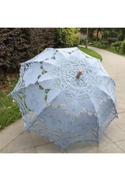 Зонтик свадебный кружевной, ручка дерево (белый)