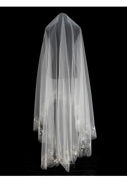 Фата длинная с вышивкой круговая (айвори)