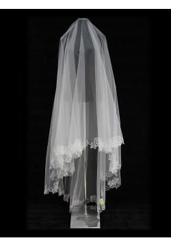 Фата длинная с вышивкой круговая (белая)