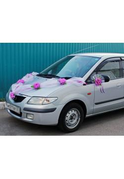 Набор на авто Фатин Цветы L (лента, банты 2шт)