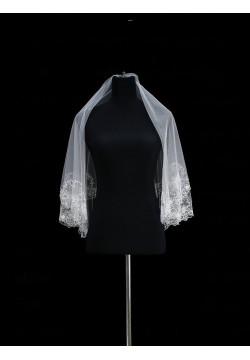 Фата средняя с вышивкой расшитая (еврофатин) белая