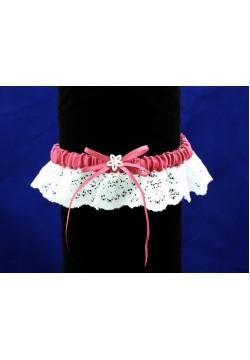 Подвязка Кружевная (бело-бордовая)