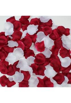 Лепестки роз (150шт) бордо + белые