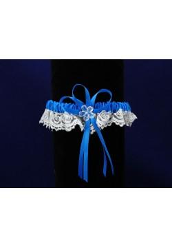 Подвязка Кружевная (бело-синяя)