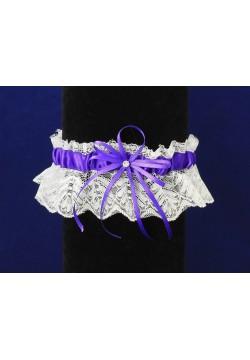 Подвязка Кружевная (бело-фиолетовая)
