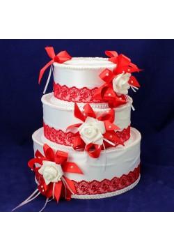 Сундук для денег «Торт» (бело-красный)