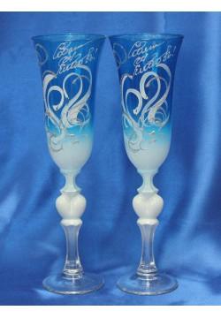 Фужеры для шампанского Свадебные (цветные прозрач)