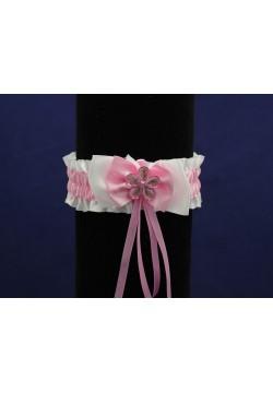 Подвязка Атласная Бантик (бело-розовый)