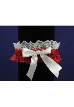 Подвязка Кружевная 2-цветная (бело-красная)