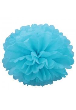 Помпон бумажный 35см голубой