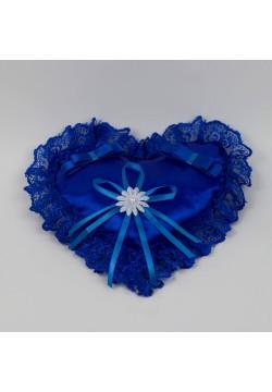 "Подушечка для колец ""Сердце"" кружево (синяя)"
