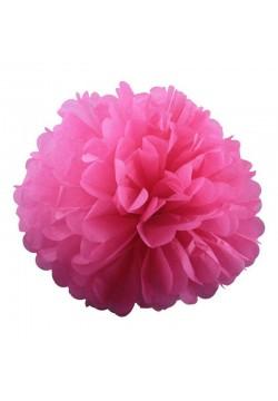 Помпон бумажный 30см розовый тёмный