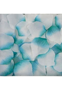 Лепестки роз (300шт) бело-бирюзовые