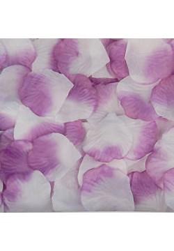 Лепестки роз (300шт) бело-фиолетовые