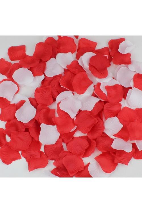 Лепестки роз (150шт) красные + белые